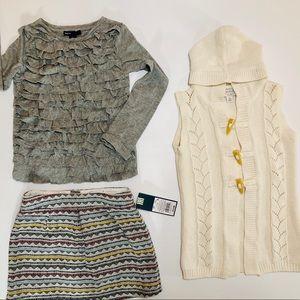 Gap Tee, NWT OshKosh Skirt, & Place Hooded Sweater